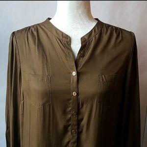 Boden silk blend olive button down shirt blouse